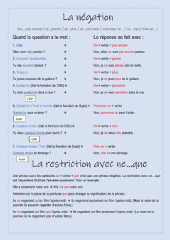 Interactive worksheet La négation