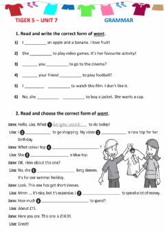 Interactive worksheet Verb to want