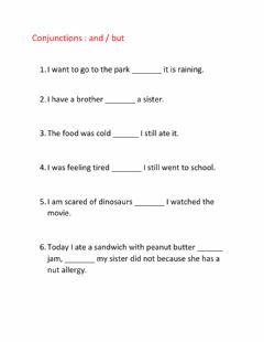 Interactive worksheet Conjunctions and but