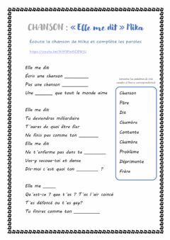 Interactive worksheet Chanson -Elle me dit- Mika