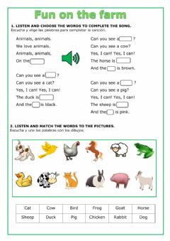 Interactive worksheet Fun on the farm