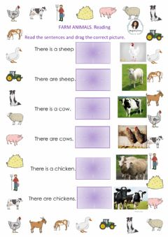 Ficha interactiva Farm animals - reading