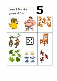Interactive worksheet Groups of  5