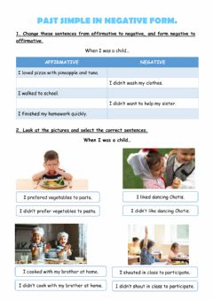 Interactive worksheet Past simple negative and afirmative