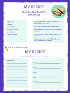 Interactive worksheet Writing a recipe