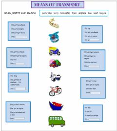 Interactive worksheet 4th grade-Means of transport-Read, write and match