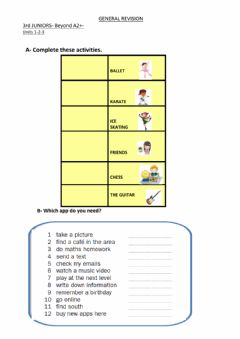 Interactive worksheet 3rd Juniors - Units 1 to 3