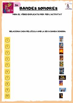 Interactive worksheet BANDES SONORES