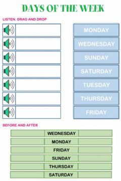 Interactive worksheet 2nd-Days of the week-Today, tomorrow, yesterday