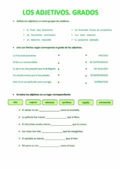 Interactive worksheet ADJETIVOS. GRADOS