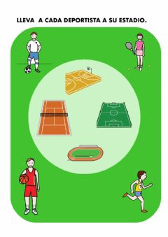 Interactive worksheet Deportes - Unir deportista y estadio
