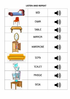 Interactive worksheet Furniture and parts of the house