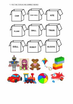 Interactive worksheet Put the toys away