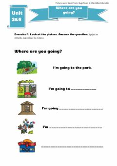 Interactive worksheet Where are you going?