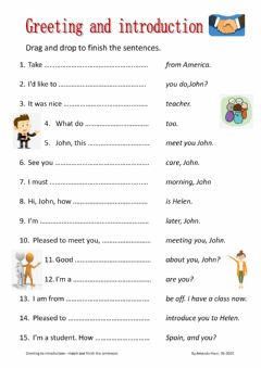 Interactive worksheet Greeting and introduction