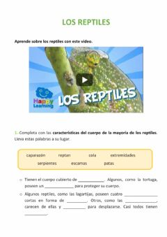 Interactive worksheet Los reptiles