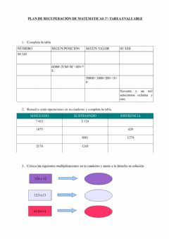 Interactive worksheet Tarea evaluable Recuperación MATEMÁTICAS 3º