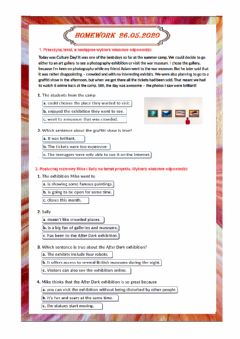 Interactive worksheet Visiting galleries and museums