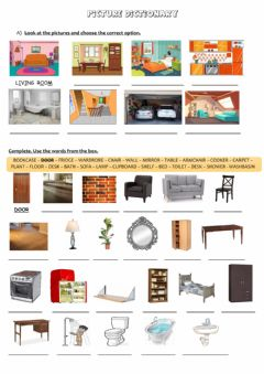 Ficha interactiva Rooms and furniture