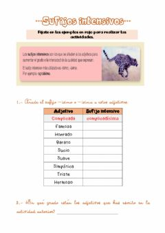 Interactive worksheet Sufijos intensivos