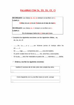 Interactive worksheet Za, zo, zu, ce, ci