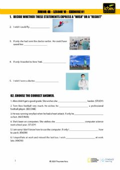 Interactive worksheet Wishes and regrets - wish clause