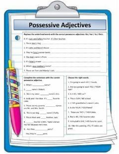 Interactive worksheet Possesive adjectives