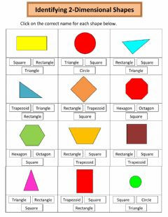 Ficha interactiva Naming 2-Dimensional Shapes