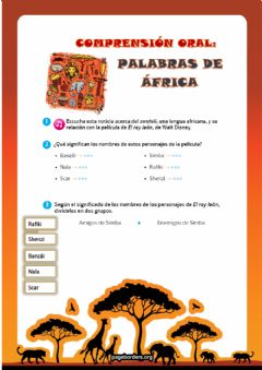 Interactive worksheet PALABRAS DE ÁFRICA - COMPRENSIÓN ORAL