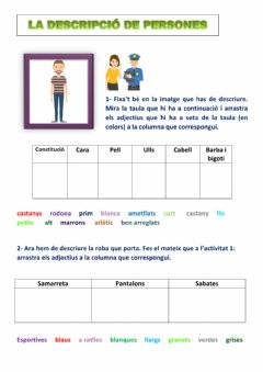 Interactive worksheet Descripció de persones