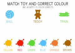 Ficha interactiva Match the toys and the colours - Une los juguetes y los colores