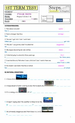 Interactive worksheet 1st term test 5TH YEAR