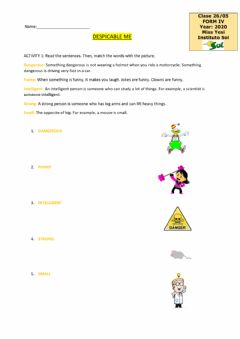 Interactive worksheet Despicable me