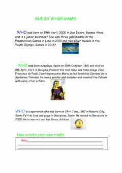 Interactive worksheet Guess Who Game