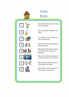 Interactive worksheet Home Rules