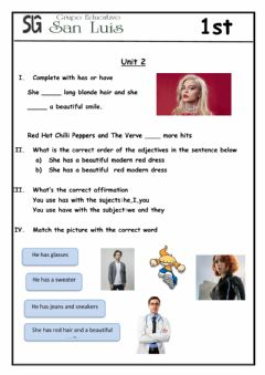 Interactive worksheet Have and has
