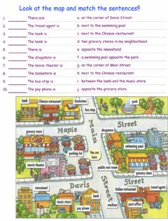 Interactive worksheet Look at the map and match the sentences