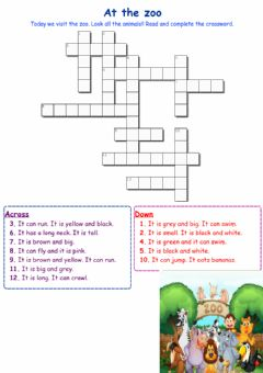 Interactive worksheet Animals at the zoo - Crossword