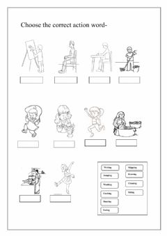Interactive worksheet Choose the correct action words
