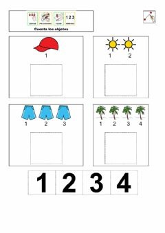 Interactive worksheet Contar objetos (1-4)