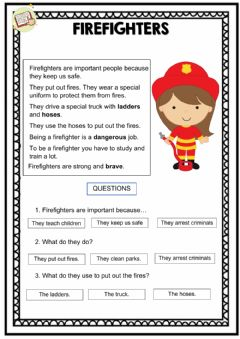Ficha interactiva Reading comprehension - Firefighters