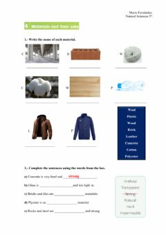 Interactive worksheet Materials and their use