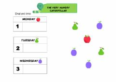 Interactive worksheet The Very Hungry Caterpillar - Drag and drop - easier