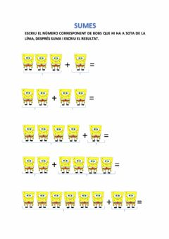 Interactive worksheet Sumes Bob Esponja