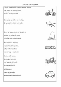 Interactive worksheet Adivinanzas medios transporte