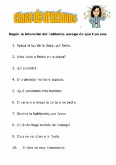 Interactive worksheet Clase de oraciones