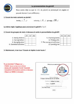 Interactive worksheet 6è - La prononciation du génitif