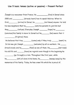 Interactive worksheet 5 basic tenses passive or active + Present-past perfect