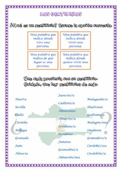Interactive worksheet Los gentilicios