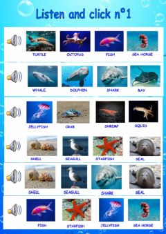 Ficha interactiva Listen and click SEA ANIMALS